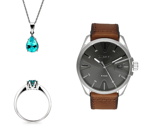 jewelry product photography: nackle, ring, watch